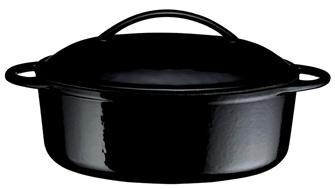 Cocotte in ghisa ovale nera 22 cm, cap. 1,5 l