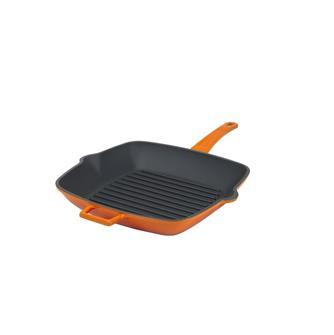 Padella grill 26x26 in ghisa colore arancio