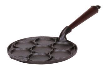 Padella 7 blinis in ghisa, manico in legno, 23 cm
