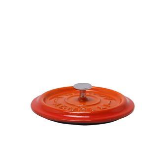 Coperchio rotondo color arancione in ghisa