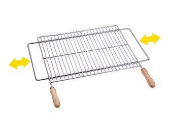 Griglia barbecue 60x40 cm inox supporto espandibile