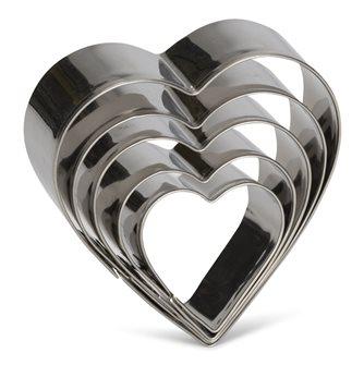 5 stampini cuore in inox