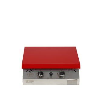 Piastra gas 6kW inox 55x45 struttura anti-graffio coperchio rosso