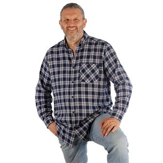 Camicia uomo blu maniche lunghe Bartavel Ande M