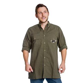 Camicia uomo kaki ricamo branco cinghiali Bartavel Hunter 3XL