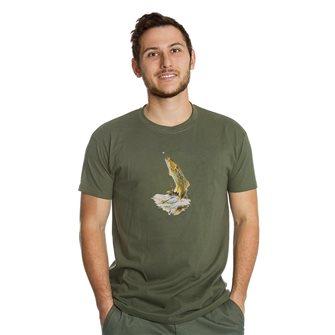 T-shirt uomo kaki Bartavel Nature stampa con trota XL