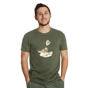 T-shirt uomo kaki Bartavel Nature stampa beccaccia e piccoli nel nido L