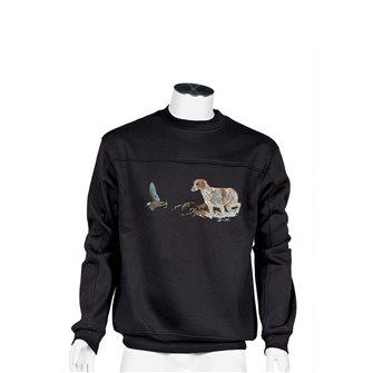 Felpa uomo nera Bartavel Nature ricamo cane caccia e beccaccia in volo XXL