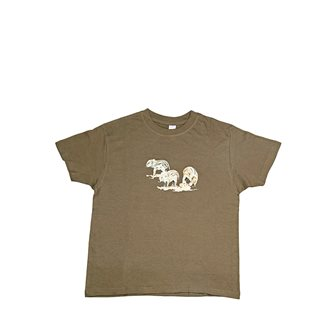 T-shirt kaki Bartavel Nature stampa con 3 cinghialetti 5-6 anni