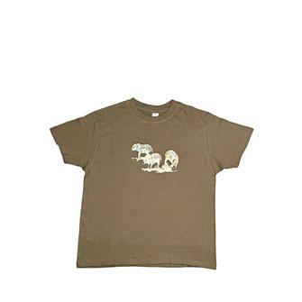 T-shirt kaki Bartavel Nature stampa con 3 cinghialetti 9-11 anni