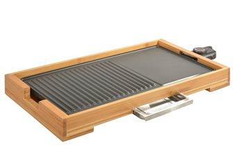 Piastra-griglia da tavolo 51x26 cm-2 kW-fusione alluminio antiaderente e bambu