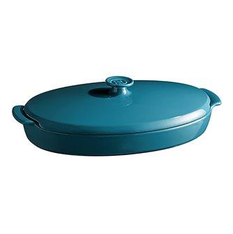 "Piatto ""cartoccio"" blu Calanque Emile Henry ceramica"