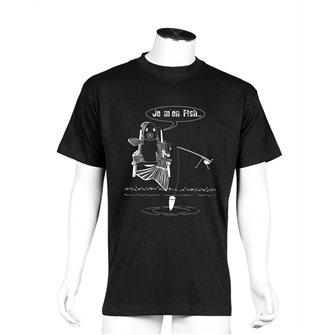 T-shirt nera Bartavel Nature humour pesca Je m´en fish XL