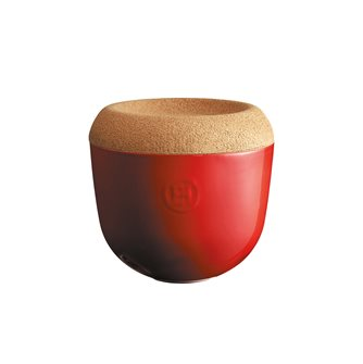 Vaso per aglio/scalogno ceramica rossa Grand Cru coperchio sughero Emile Henry