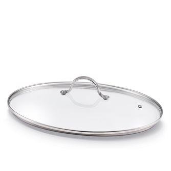 Coperchio ovale in vetro 37 cm per padella per pesce
