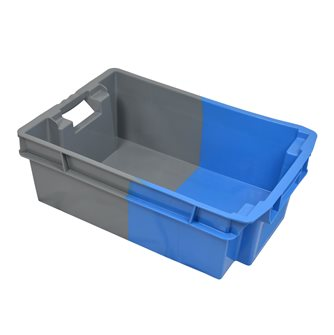 Cassetta incastrabile e impilabile blu e grigia